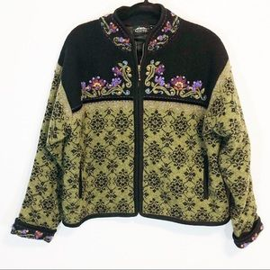 Icelandic Designs wool embroidered coat size xl